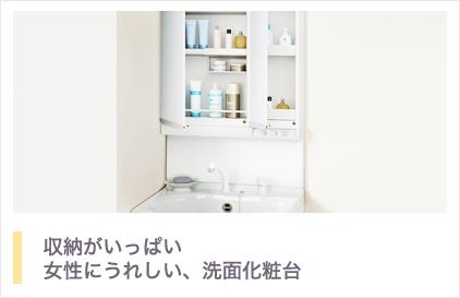 収納がいっぱい!女性にうれしい、洗面化粧台